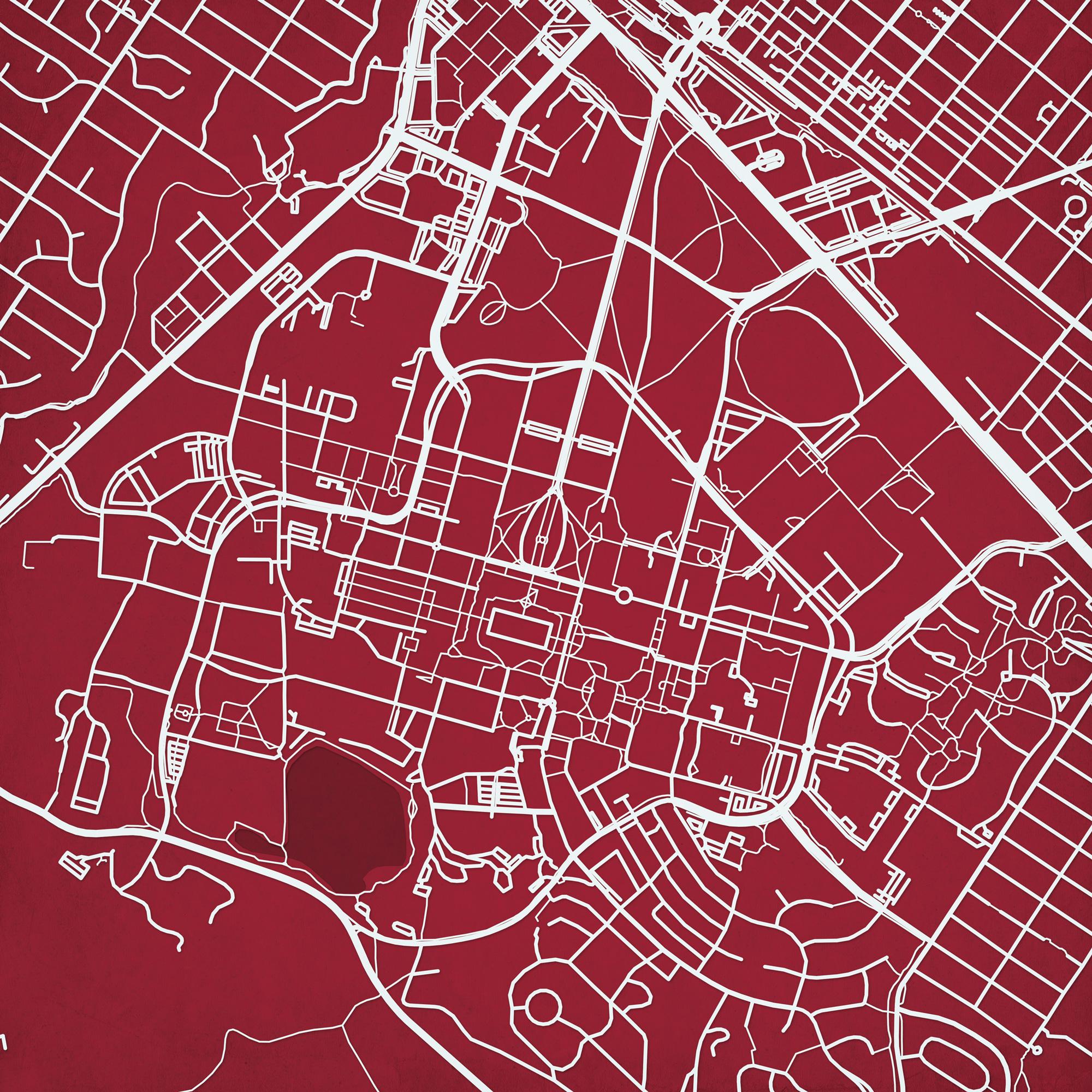 Stanford University Campus Map Art - City Prints