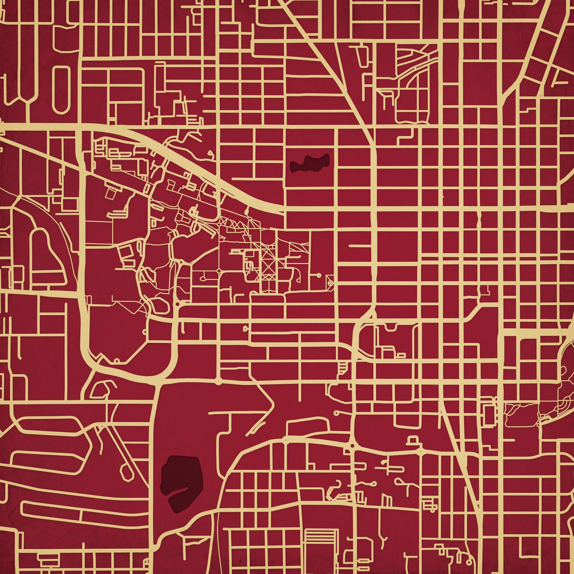 Florida State Campus Map.Florida State University Campus Map Art City Prints
